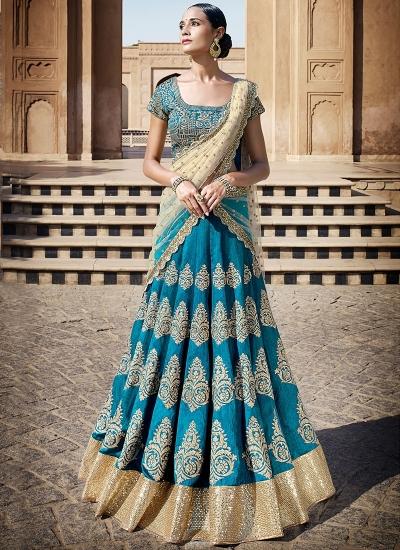 Engrossing Teal Bhagalpuri Silk Lehenga Choli