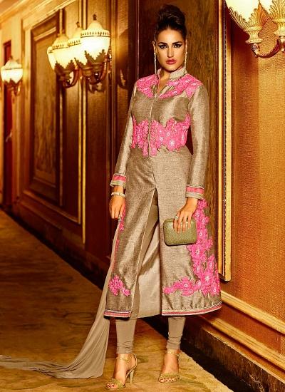 Masterly Light Grey Pure Silk Churidar Suits