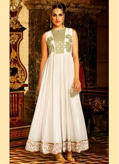 Fetching White Georgette Anarkali Suits
