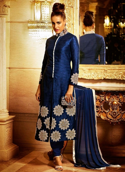 Radiant Marine Blue Bhagalpuri Silk Churidar Suit