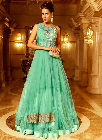 Prodigious Sea Green Net Long Anarkali Suit