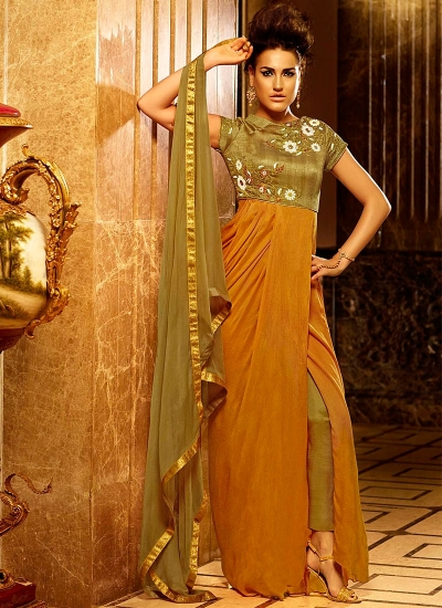 Exciting Mustard Satin Chiffon Gown Style Suit