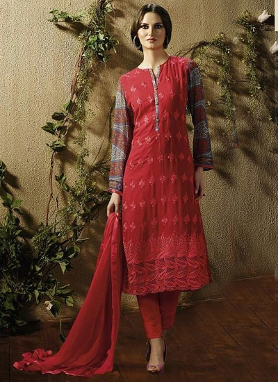 Winsome Red Georgette Churidar Suit