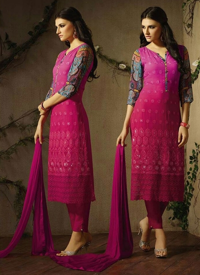 Lovely Magenta Georgette Churidar Suit