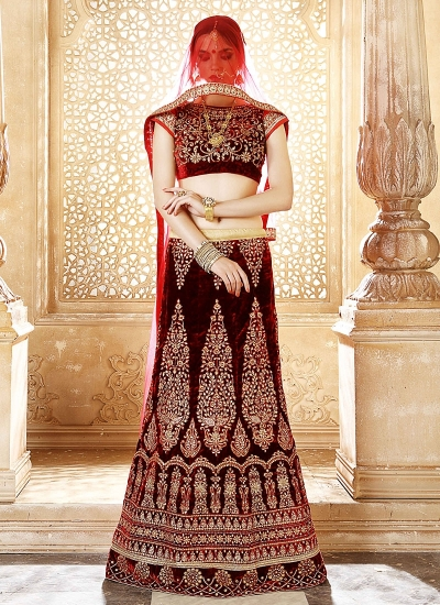 Heavenly Wine Velvet Lehenga Choli