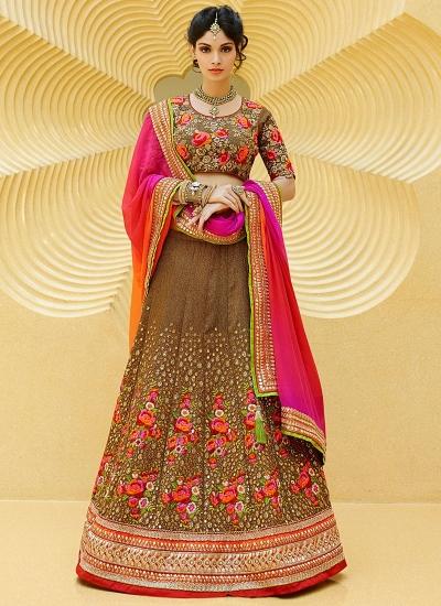 Flamboyant Brown Tissue Net Lehenga Choli