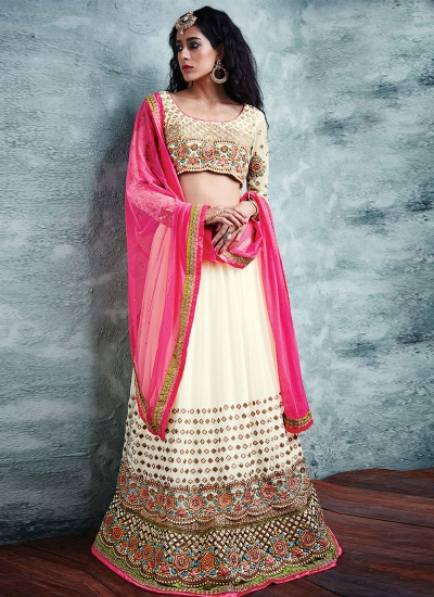 Modernistic Patch Border Work Georgette A Line Lehenga Choli