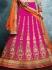 Vehemently Hot Pink Embroidered Work Art Silk A Line Lehenga Choli