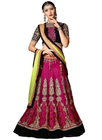 Appealing Hot Pink Net Lehenga Choli
