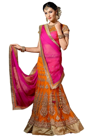 Mystic Orange Net Lehenga Choli