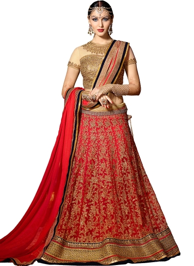 Bewitching Red Net Lehenga Choli
