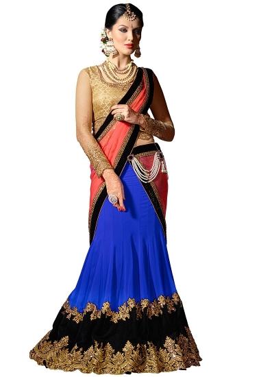 Picturesque Blue Georgette Lehenga Choli