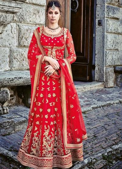 Picturesque Red Georgette Lehenga Choli