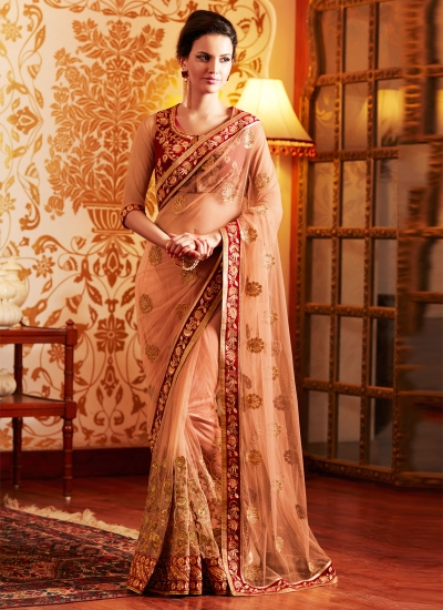 Astonishing Lace Work Net Designer Saree