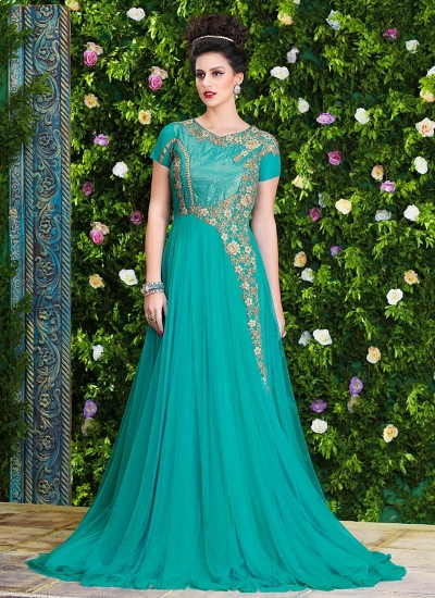 b1a8b466f3 Buy Fetching Turquoise Net Party Wear Gown at kollybollyethnics