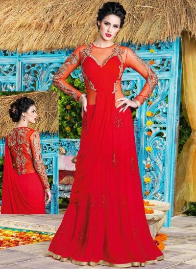 Topnotch Red Swiss Georgette Party Wear Gown