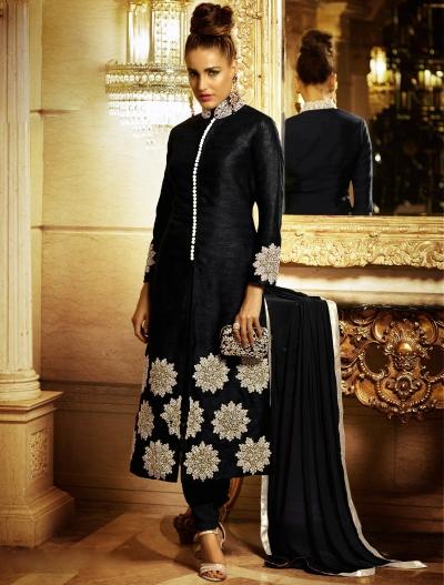 Radiant Black Bhagalpuri Silk Churidar Suit
