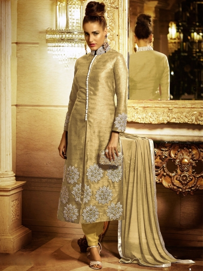 Radiant Beige Bhagalpuri Silk Churidar Suit