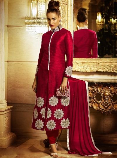 Radiant Red Bhagalpuri Silk Churidar Suit