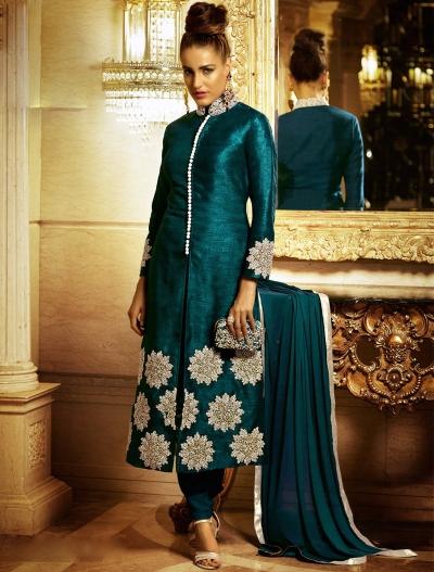 Radiant Teel Green Bhagalpuri Silk Churidar Suit