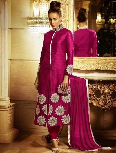 Radiant Magenta Bhagalpuri Silk Churidar Suit