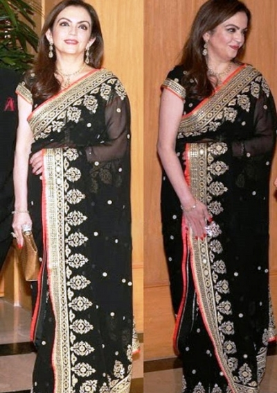 Nita Amabani Black saree