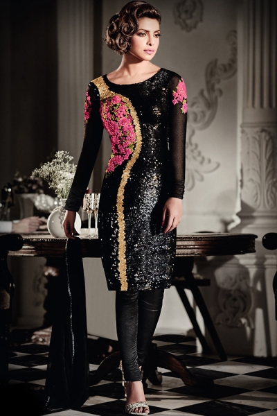 Gorgeous Priyanka Chopra Black Georgette straight cut salwar kameez