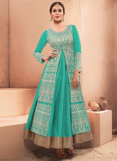 Astonishing Turquoise Resham Work Designer Gown