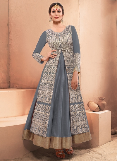 Impressive Silk Grey Embroidered Work Designer Gown