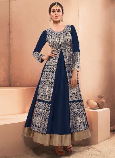 Unique Navy Blue Resham Work Designer Gown