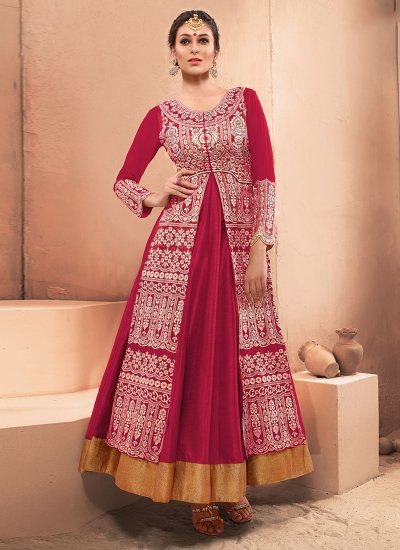 Titillating Hot Pink Net Embroidered Work Designer Gown