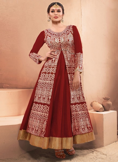 Maroon Silk Designer Gown