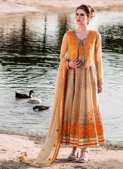 Extraordinary Orange and Beige Embroidered Work Viscose Anarkali Salwar Suit