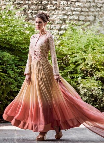 Superlative Georgette Resham Work Anarkali Suit