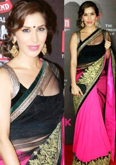 Sophie Chaudhary in Black & Pink saree