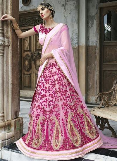 Civility Pink Net Lehenga Choli