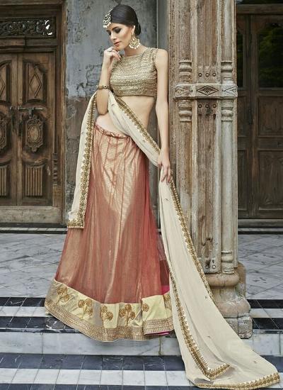 Obligingness Indian Red Net Lehenga Choli