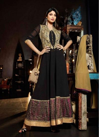 Flattering Shilpa Shetty Black Faux Georgette Jacket Style Anarkali Suit