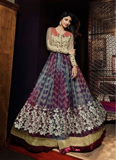 Voguish Shilpa Shetty Multi Colour Party Anarkali Suit