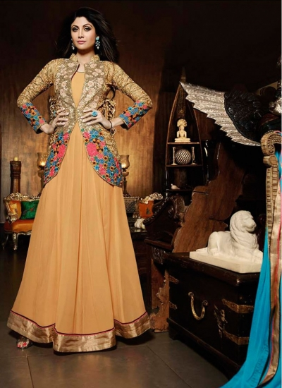 Magnetic Shilpa Shetty Peach Faux Georgette Jacket Style Floor Length Suit
