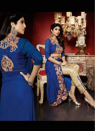 Festal Shilpa Shetty Blue Ceremonial Floor Length Trendy Suit
