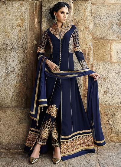 Incredible Blue Georgette Churidar Suit