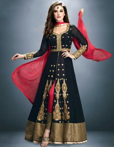 Black Georgette Embroidered Anarkali Suit