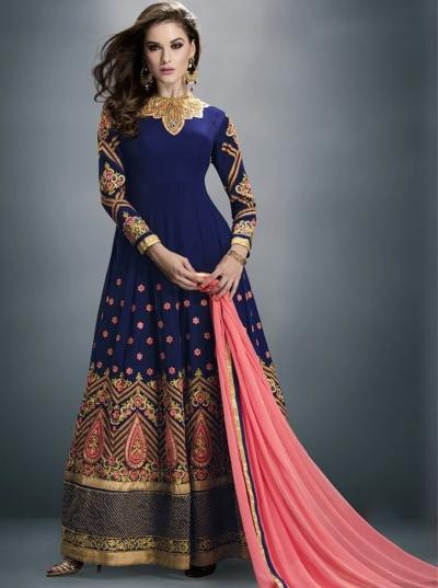 Blue Georgette Embroidered Anarkali Suit