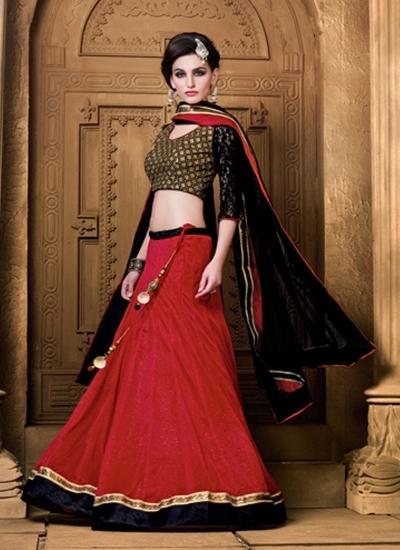 Intricate Red Resham Work A Line Lehenga Choli