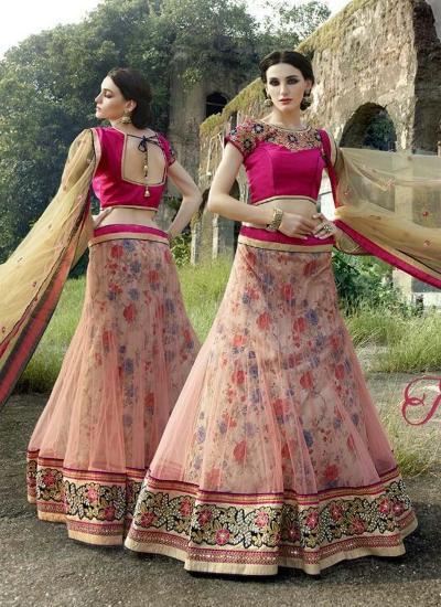 Miraculous Net Pink Embroidered Work A Line Lehenga Choli