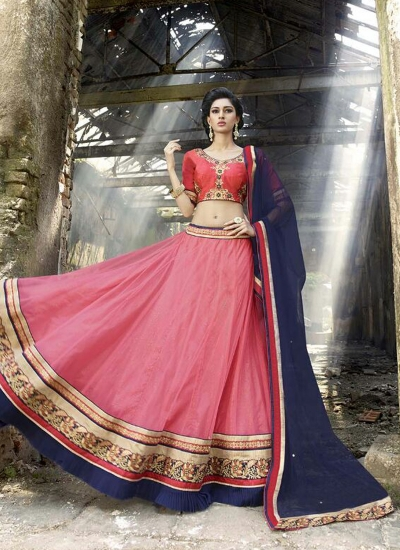 Preferable Net Pink A Line Lehenga Choli