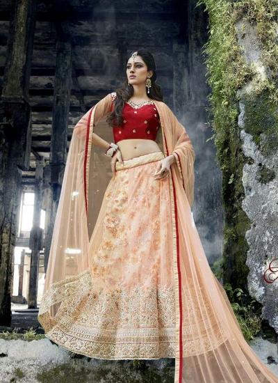 Glorious Bhagalpuri Silk Peach and Red A Line Lehenga Choli