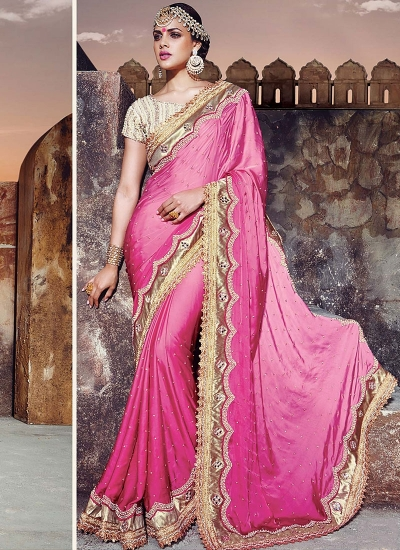 Congenial Hot Pink Satin Silk Designer Saree