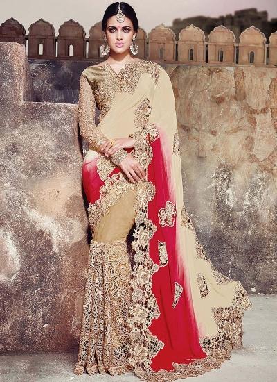 Royal Multi Color Satin On Net Saree